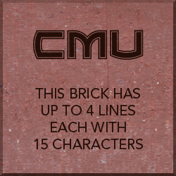 8x8 inch brick with CMU Logo and text