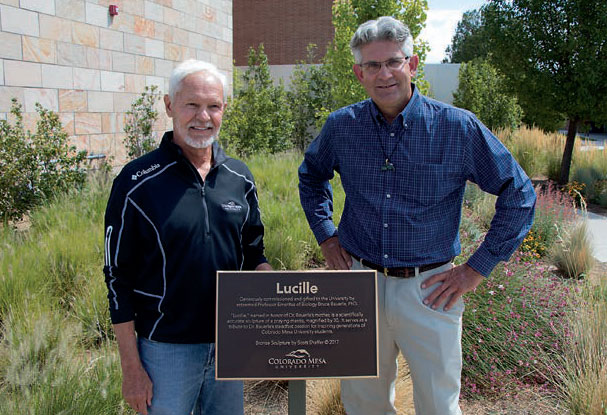 """Bruce Bauerle, Retired Professor with artist of """"Lucille"""""""